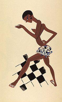 Paul Colin (1892-1985), 1929, Female dancer on checkerboard, 'Le Tumulte Noir', Color pochoir, Éditions d'Art Succès, Paris.