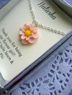 Ask flowergirl, junior bridesmaids. Flower necklace. FREE personalized notecard. NEW STYLE for 2013.