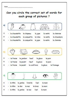 VOCABULARY FRENCH WORKSHEETTeaching Resources by YippeeLearning