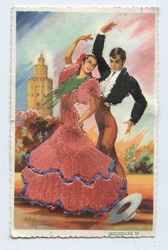Embroidered silk fabrics Spain flamenco dance ethnic dress 1960s postcard gt19