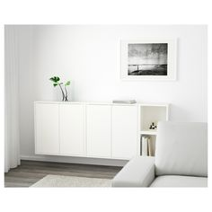 EKET Wall-mounted cabinet combination - white - IKEA - or maybe light grey? Wall Storage, Bedroom Storage, Bedroom Wall, Ikea Wall Cabinets, Living Room Cabinets, Sala Ikea, Ikea Eket, Flexible Furniture, Ikea Living Room