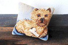 Vintage Needlepoint Dog Pillow. #want #crazydoglady