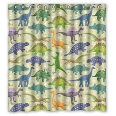 Dreamting Polyester Fabric Shower Curtain,Dinosaurs in Space Shower Curtains for Bathroom 3D Vivid Print Waterproof Shower Curtains,60 x 72