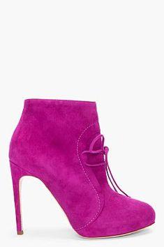 【RUPERT SANDERSON】Fuchsia Osprey Suede Ankle Boots