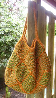 knitting bag, mitered square