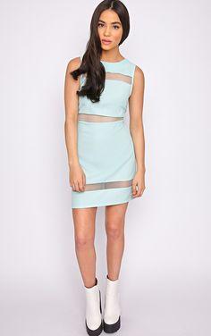 #PrettyLittleThing #dress Amelie Mint Mesh Insert Dress-S, Green at #PrettyLittleThing