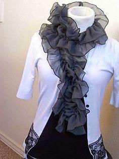 yo elijo coser: DIY: reciclar un retal de tela y convertirlo en un foulard Usando hilo elástico en la canilla de la máquina