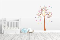 Swirly Tree With Owls ~ Kidz 'n Clan Decor Wall Stickers Kids Wall Decals, Wall Stickers, Sitting In A Tree, See Images, Tree Wall, Animals For Kids, Swirls, Baby Room, Toddler Bed