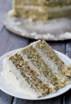 Cake with Honey Vanilla Buttercream — This creamy cake is a tasty, unique recipe that is sure to be a hit!Pistachio Cake with Honey Vanilla Buttercream — This creamy cake is a tasty, unique recipe that is sure to be a hit! Just Desserts, Delicious Desserts, Yummy Food, Baking Recipes, Cake Recipes, Dessert Recipes, Lasagna Recipes, Food Cakes, Cupcake Cakes