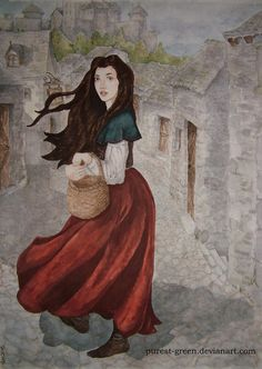 Lady Red Skirts by purest-green Watercolour of Molly Chandler from Robin Hobb's Farseer trilogy.