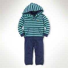 Ralph Lauren Children Infant Boy Striped Cotton Hook-Up Set | from Von Maur #VonMaur #Childrens #Outfit