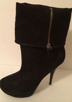 Candie's Black Zip Up Mid Ankle Boots size 8 M Faux Suede Fold Over High Heels #Candies #AnkleBoots #Any