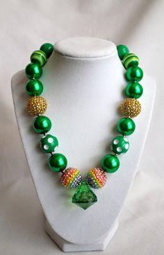 St. Patrick's Day  Diamond Pendant Sparkly by BrooklynGraceBabies