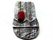 Sterling Silver Coral Pin 6438