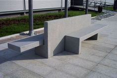 Public bench / design / engineered stone / with backrest BIS ® by Xavier Isart Escofet