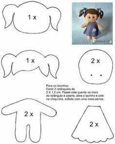 Molde boneca menina de feltro - felt doll pattern by melisa