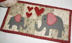 (7) Name: 'Quilting : Red Elephants Mug Rug