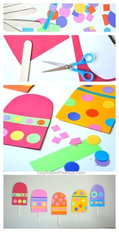 Summer Arts And Crafts, Spring Crafts, Preschool Crafts, Fun Crafts, Ice Cream Crafts, Popsicle Crafts, Shape Crafts, Toddler Crafts, Projects For Kids