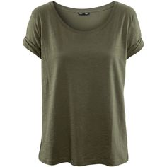 H&M Basic top ($12) ❤ liked on Polyvore featuring tops, t-shirts, shirts, tees, green, t shirts, green shirt, loose fitting t shirts, loose fitting shirts and h&m