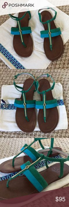 Tory Butch suede thong sandals Blue and green suede with gold logo detailing thong sandal, side ankle buckle strap. Great condition! Dust bag included! Tory Burch Shoes Sandals