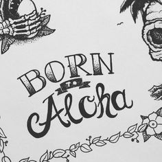 I tried some hand lettering yesterday  it's the final part of my tattooflash.  #illustration #drawing #handdrawn #handmade #ink #tattooart #skull #sketch #inked #instaart #instadraw #doodle #instadaily #art #summer #blackandwhite #leaf #bones #aloha #lettering  #handlettering #typography