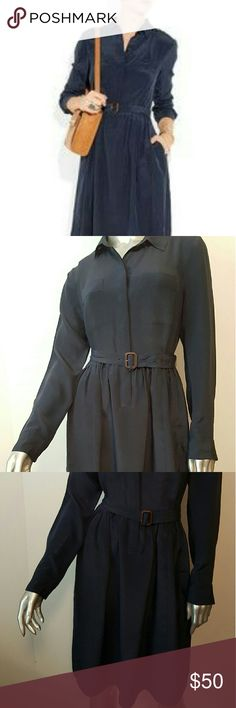 New J.CREW Blythe Silk Blue Dress Sz 6 SOLD OUT! Timeless   Stunning   Pocketed   Two Chest pockets   Belted   Feel free to contact me with any questions or concerns prior to purchase   Thank you for looking in my closet! J. Crew Dresses