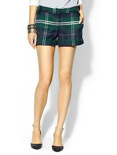 So cute for fall. With tights... Hive & Honey Cozy Plaid Short | Piperlime