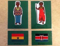 Nu när vi ska fira FN dagen på förskolan hittade jag ett trevligt material på barn klädda inationaldräkter och flaggor från samma länder ho... Ghana, Montessori, Crafts For Kids, Blogg, Peace, Baseball Cards, Tips, Free, Culture