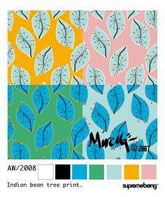 Supremebeing: Womenswear. AW/2008. Print Direction and Design. © Mirella Bruno Print Designs. 2007.  Indian Bean Tree Colourways.