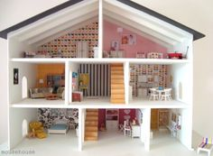 i want to eventually renovate my childhood dollhouse for my daughter - I love the way the walls are white but there are fun and beautiful feature walls