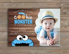 Cookie Monster Sesame Street Birthday Invitation and Thank You Card, printable, customizable, photo, Digital File or Printed Options Monster First Birthday, Monster 1st Birthdays, Baby Birthday, First Birthday Parties, First Birthdays, Birthday Ideas, Sesame Street Birthday Invitations, Cookie Monster Party, Sesame Streets