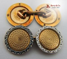 Vintage Engine Turned White and Yellow 18 K Gold Cufflinks 1910