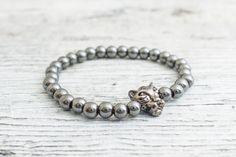 Hematite beaded gunmetal black Leopard stretchy bracelet, custom made yoga bracelet, mens bracelet, womens #bracelet