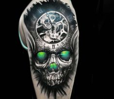 Time Skull tattoo by Dominik Hanus