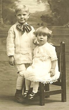 +~+~ Antique Photograph ~+~+  Adorable brother with plaid bow and younger sister.