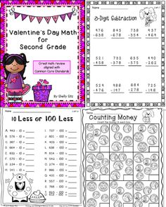 Valentine's Math for Second Grade--counting money, missing addends, mental math, telling time, 3-digit addition and subtraction