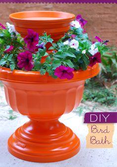 DIY Bird Bath. Very pretty and easy to make!