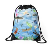 Drawstring Bag with 'There Be Dragons' whimsical dragonfly art by Nola Lee Kelsey