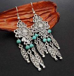Tribal Earrings, Turquoise Earrings, Turquoise Jewelry, Silver Earrings, Ethnic Jewelry, Boho Jewelry, Antique Earrings, Bohemian Gypsy, Chandelier Earrings
