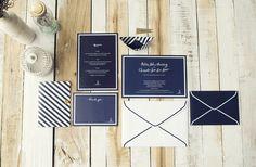 loving this navy blue elegant stationary set by Mr & Mrs