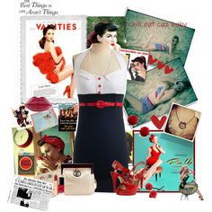 """""""40's Pin Up Girl"""" by annmarie0697 on Polyvore with a jacket"""
