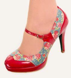 MARY-JANE-Schuhe-von-Banned-GEPUNKTET-50s-Rockabilly-Ferse-Blumenmuster