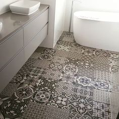 Awesome floor tiles in this display home we are styling today! ! #propertystyling  #interiordesigns #bathrooms