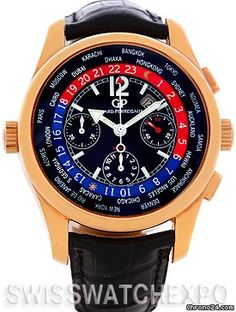 Girard Perregaux World Time Ww.tc 18k Rose Gold Watch 49800 $20,000 #GirardPerregaux #watch #watches #luxury #style #chronograph pink gold case with leather bracelet and automatic movement