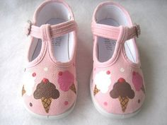 Shoes Girl's Pink Ice Cream TStrap Canvas by boygirlboygirldesign, $28.00
