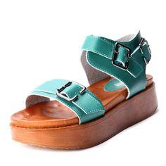 Green PU Buckle Strap Flat 50mm Sandals