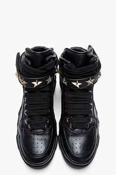 new products c8a76 d770b GIVENCHY Black Leather Star-Embellished High-Top Sneakers High Top  Sneakers, Shoes Sneakers