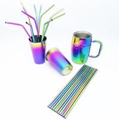 Rainbow Stainless Steel Beer Cup Drinking Ice Water Cup Portable Beer Mug Big Drinkware Ice Water Christmas Gifts Vintage Cutlery, Cutlery Set, Bar, Rainbow Kitchen, Diy Crafts For Girls, Kitchen Items, Kitchen Reno, Kitchen Remodeling, Remodeling Ideas