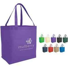 """Transport your advertising to another level when you imprint your custom logo on this classic tote. Six color options from which to choose promotes high logo visibility. Made from non-woven polypropylene with 8"""" gusset they are an Eco-friendly way to promote your company. This handy promotional product would be perfect for tradeshows or as a travel bag. 21"""" handles. Recyclable. Measures 12""""W x 13""""H x 8""""D"""