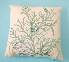Beach Wedding Ring Bearer Linen Pillow with by thepillowcollection, $49.00